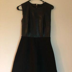 Zara faux leather and felt dress
